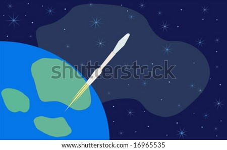 Rocket or missile blast off for space with earth in background