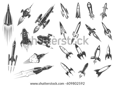 Rocket or spaceships and space shuttle icons for comic cartoon design. Retro missiles spacecraft startup or launch in cosmos with engine fire. Vector symbols of cosmonaut vehicle.