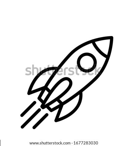 Rocket outline ship icon with fire isolated on white Vector illustration with flying rocket isolated