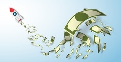 Rocket paper art  style with money vector illustration