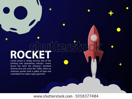 rocket paper art vector and