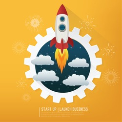 Rocket. Project start up. Business aims and smart solutions. Teamwork.yellow background,clean vector