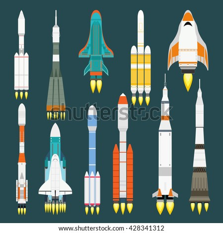 Rocket set vector and technology ship rocket cartoon design