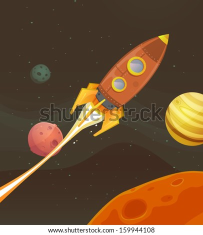 Rocket Ship Flying Through Space Illustration of a cartoon retro red spaceship blasting off and exploring space and planets