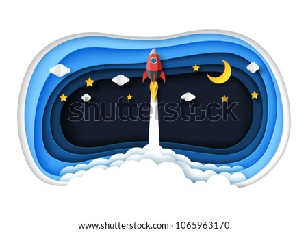 Rocket ship launch flying on blue abstract 3d hole paper layers with clouds,stars and moon.Paper art of business start up concept creative idea concept.Vector illustration.
