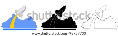 rocket ship launching with cloud of vapor.  Three views in black, white and color.