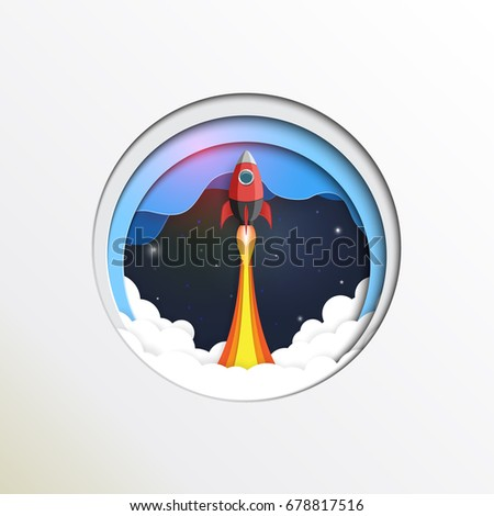 Rocket ship to space paper art style design.Business startup concept.Vector illustration.