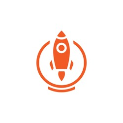 rocket ship with fire flying out of circle isolated on white. Flat line icon. Vector illustration with flying rocket. Space travel. Project start up sign. Creative idea symbol.