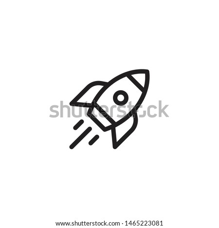 Rocket ship with fire icon. Flying rocket icon. Space travel. Project start up sign. Creative idea symbol. Vector illustration