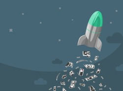 Rocket ship with fuel from money. Space rocket launch with jet from paper money. Project start up and development process.Innovation product, creative idea. Management. Vector illustration. Flat desig