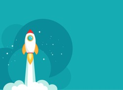 Rocket ship with space and stars on blue background. Flat icon. Vector illustration with flying shuttle. Space travel. Space rocket launch. New project start up concept. Creative idea.