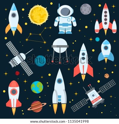 Rocket space globe solar system and planet cosmos sky vector illustration. Flight spacecraft astronaut exploration travel shuttle. Cosmonaut spaceman transportation rocketship.