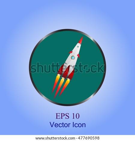 rocket space ship icon vector