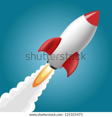 rocket space ship  on blue