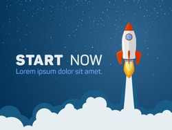 Rocket spaceship launch to stars into the blue sky space. Fire flame and smoke path. Start  now quote. Business start up concept. Red white rocket shuttle launch, spaceship flight vector illustration.