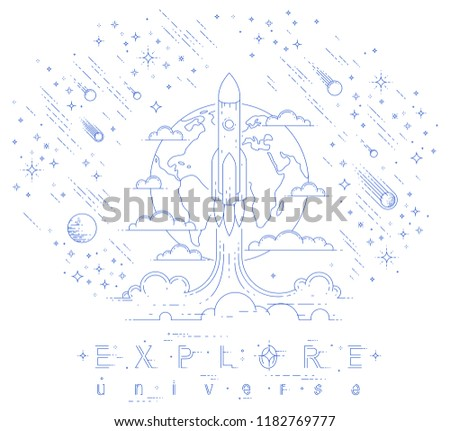 Rocket start from earth to space to discover undiscovered, surrounded by comets, asteroid, meteors, stars and other elements. Explore universe, space science. Thin line 3d vector illustration.