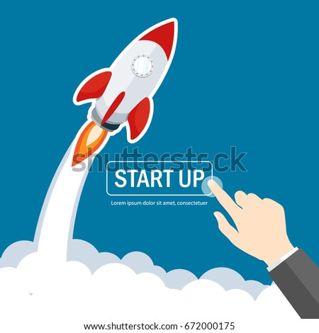 rocket start up launch,businessman hand pointer click start up flat vector