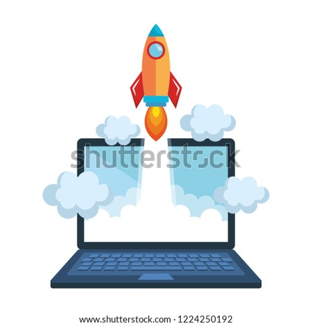 rocket start up with laptop computer
