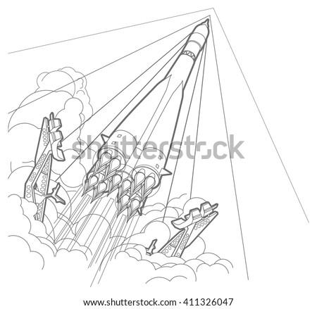 Rocket start whith smoke. Outline vector illustration.