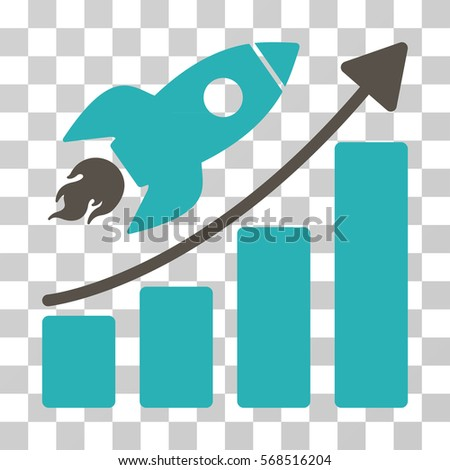 Rocket Startup Chart icon. Vector illustration style is flat iconic bicolor symbol, grey and cyan colors, transparent background. Designed for web and software interfaces.
