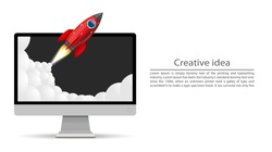 Rocket takes off from the screen. Vector illustration