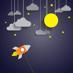 Rocket to the full moon with dark night sky and yellow star. Paper art style. Start up concept. Business SME.