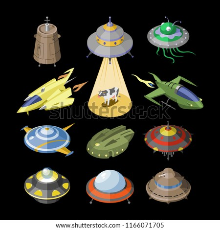 Rocket vector spaceship or rocketship and spacy ufo illustration set of spaced ship or spacecraft flying in universe space isolated on black background