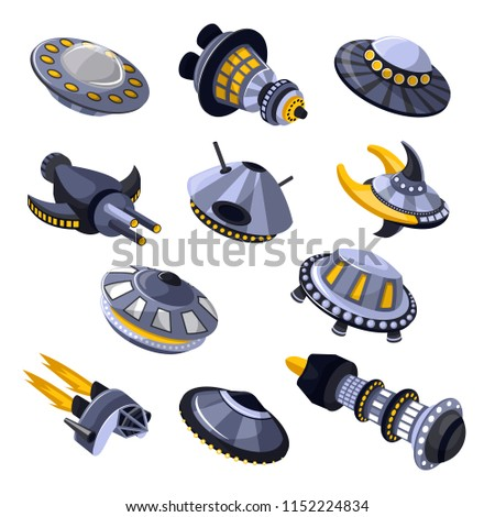 Rocket vector spaceship or spacecraft and spacy ufo illustration set of spaced ship or rocketship in universe space isolated on white background