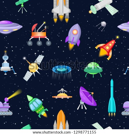 Rocket vector spaceship or spacecraft with satellite and spacy ufo illustration set of spaced ship or rocketship in universe space isolated on background