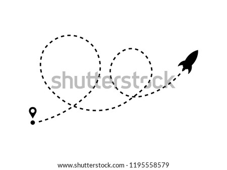 Rocket Vector with Dotted Line Route