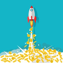 Rockets and coins. ideas to start up a business with money for growth