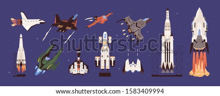 Rockets and spaceships vector set. Spacecraft, planetary exploration and travelling. Cosmic transport. Vehicles , machines designed to fly in outer space collection. Earth observation equipment.