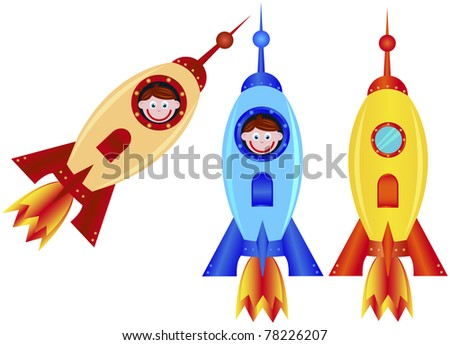 Rockets on a white background, vector illustration