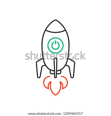 rocketship launch thin line logo. concept of travel to universe by missile and innovation. stroke flat style trend modern lineart sputnik logotype graphic art design isolated on white background