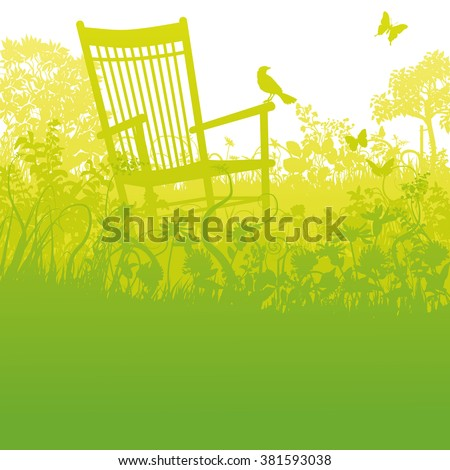 rocking chair in an overgrown