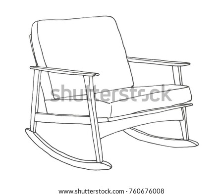 Rocking Chair Isolated On White Background Sketch A Comfortable Vector Illustration