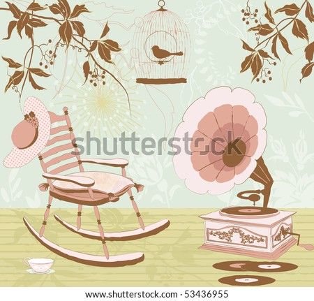 Rocking-chair, the gramophone and the cage with a bird on the veranda of the house - retro style - stock vector