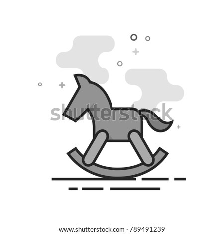 rocking horse toy icon in flat