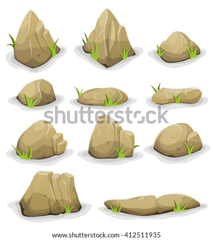 rocks and boulders with grass