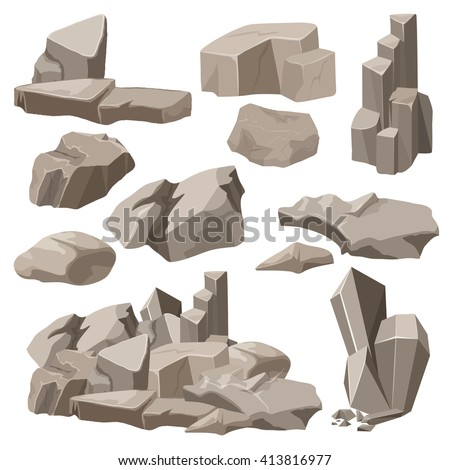 Rocks and stones elements collection set. Vector illustration. Cartoon stone for game.