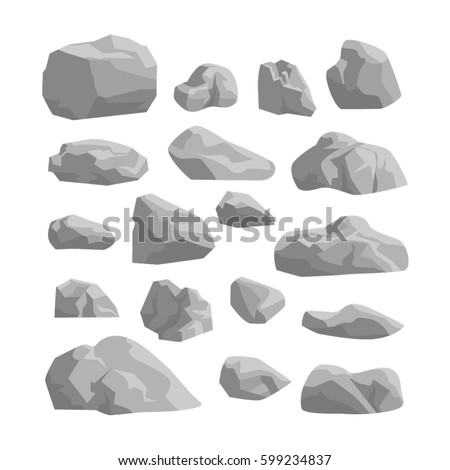 rocks and stones set on white