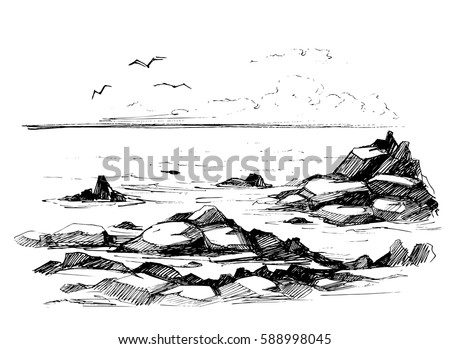 rocks in the sea vector