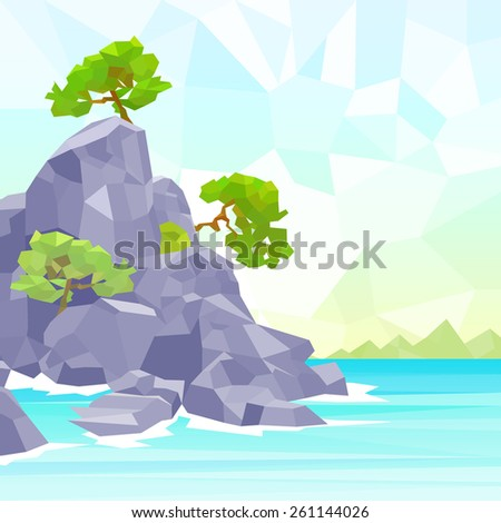 rocks sea shore with tree