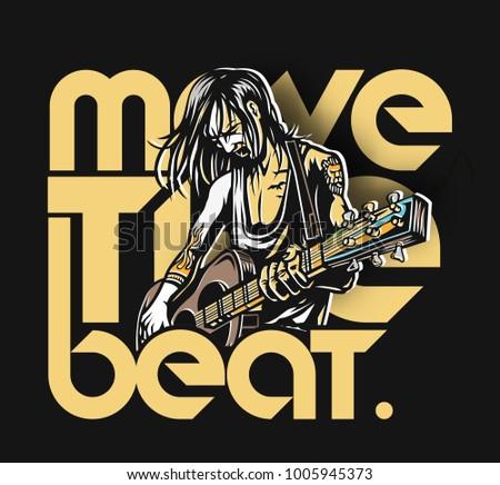 rockstar girl playing guitar