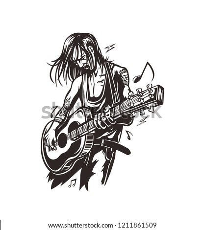339c2099 Rockstar guy playing guitar, vector illustration.