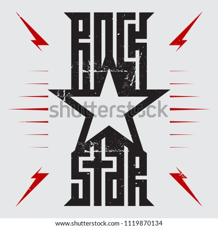 Rockstar - music poster with red lightnings and star. Rock Star - t-shirt design. T-shirt apparels cool print.