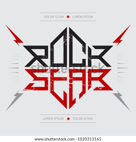 Rockstar - music poster with red lightnings and stars. Rock Star - t-shirt design. T-shirt apparels print with cool lettering.