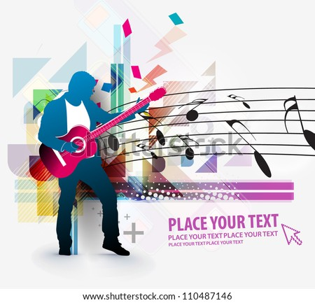 Rockstar playing on guitar, vector