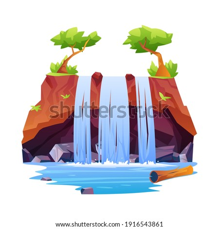 Rocky hill fountain scene with trees on top isolated tropical or jungle scenery. Vector waterfall, nature fluid splashes and drops. Natural landscape falling river water or mountain fall, aqua cascade Stock photo ©