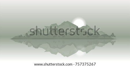 rocky island in the fog vector
